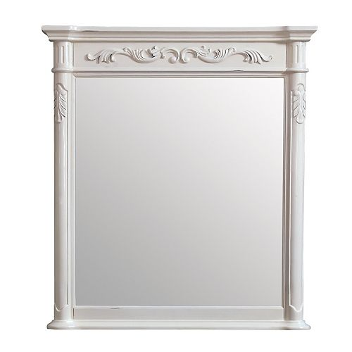 Miroir Provence de 36po, fini blanc antique