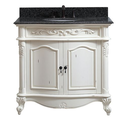 Provence 37 inch Vanity in Antique White finish with Impala Black Granite Top