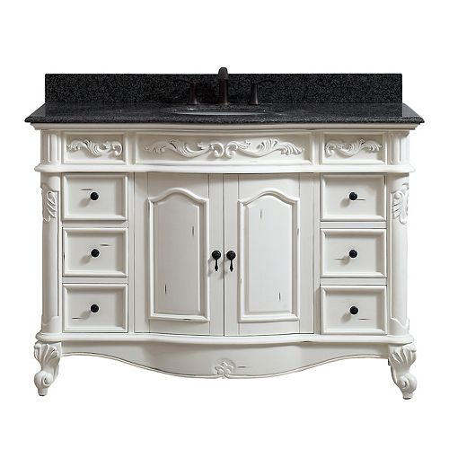 Provence 49 inch Vanity in Antique White finish with Impala Black Granite Top
