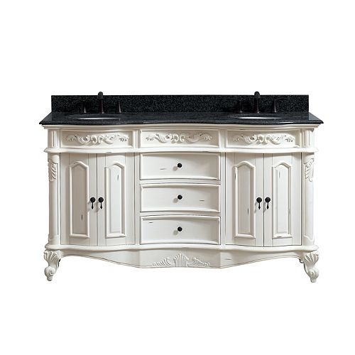 Provence 61 inch Double Vanity in Antique White finish with Impala Black Granite Top
