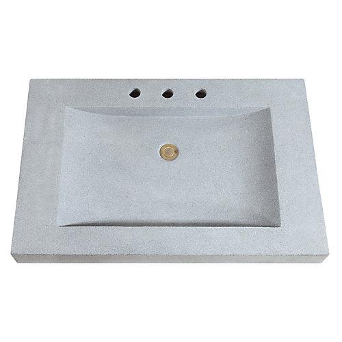 33 inch Stone Integrated Sink Top in Dark Gray Granite
