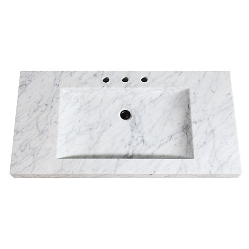 43 inch Stone Integrated Sink Top in Carrera White Marble