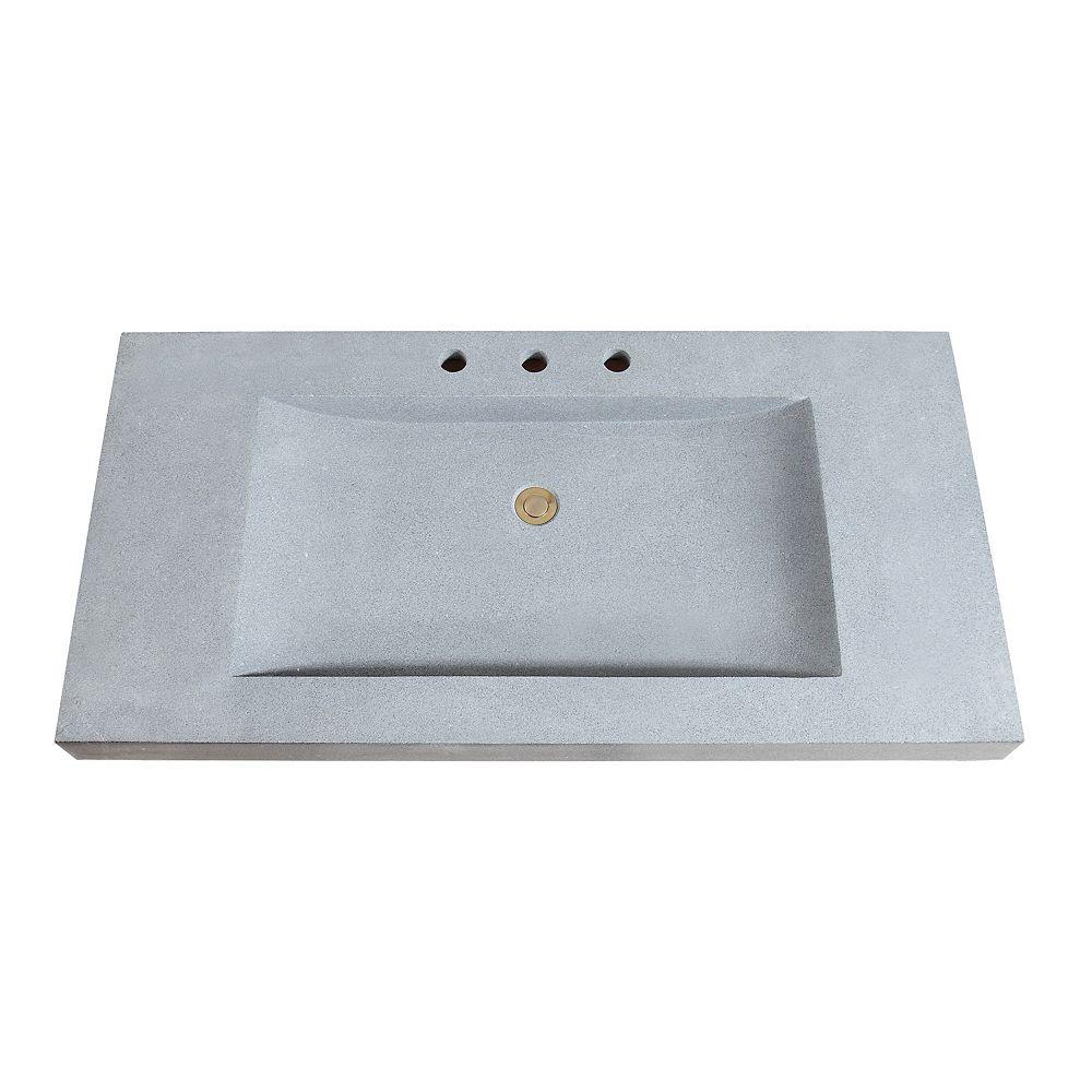 Avanity 43 inch Stone Integrated Sink Top in Dark Gray Granite