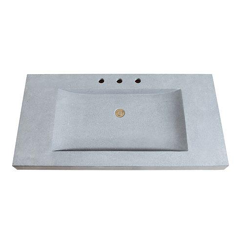 43 inch Stone Integrated Sink Top in Dark Gray Granite
