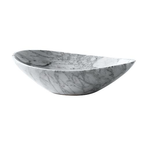 20 inch Oval Stone Vessel in Carrera White Marble