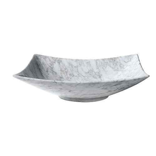 20 inch Rectangular Stone Vessel in Carrera White Marble