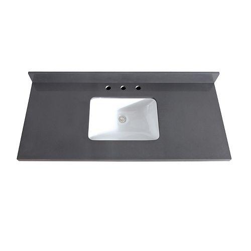 49 inch Gray Quartz Vanity Top with Rectangular Undermount Sink