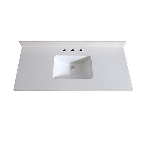 49 inch White Quartz Vanity Top with Rectangular Undermount Sink