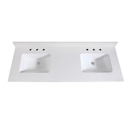 61 inch White Quartz Vanity Top with Dual Rectangular Undermount Sinks