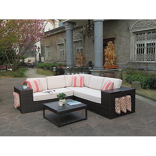 Amelia Loveseat gauche/droite en osier/Chaise d'angle/Ottoman avec coussin