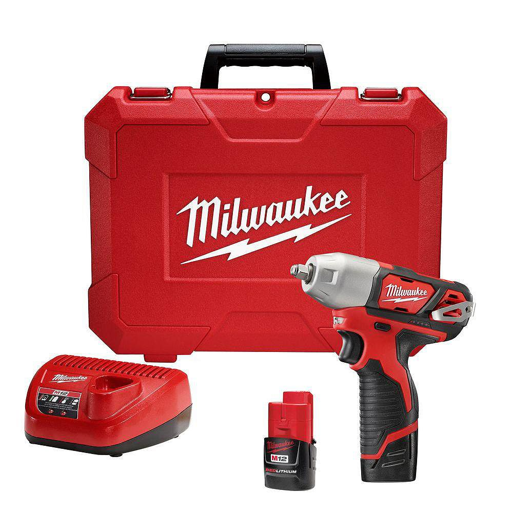 Milwaukee Tool M12 12-Volt Li-Ion Cordless 3/8-inch Impact Wrench Kit W/ (2) 1.5Ah Batteries, Charger & Hard Case