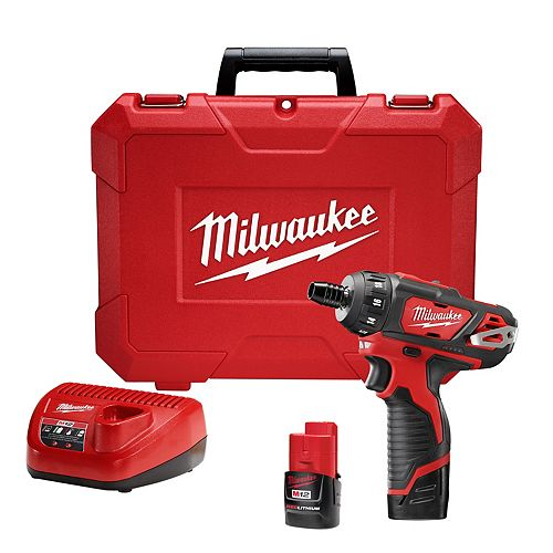 Milwaukee Tool M12 12V Lithium-Ion Cordless 1/4-Inch Hex 2-Speed Screwdriver Kit