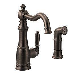 Weymouth Single-Handle Standard Kitchen Faucet with Side Sprayer in Oil Rubbed Bronze