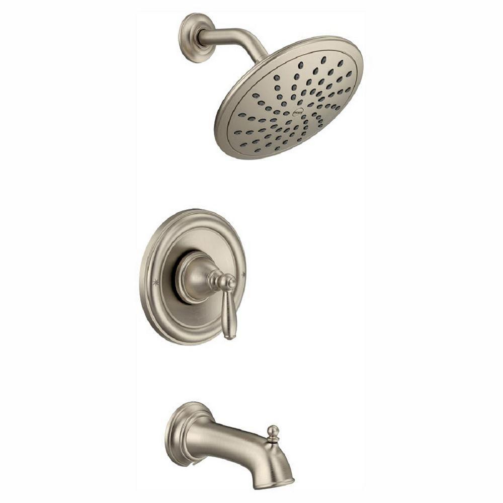MOEN Brantford Posi-Temp Rainshower Single-Handle Tub and Shower Faucet Trim Kit in Brushed Nickel (Valve Not Included)