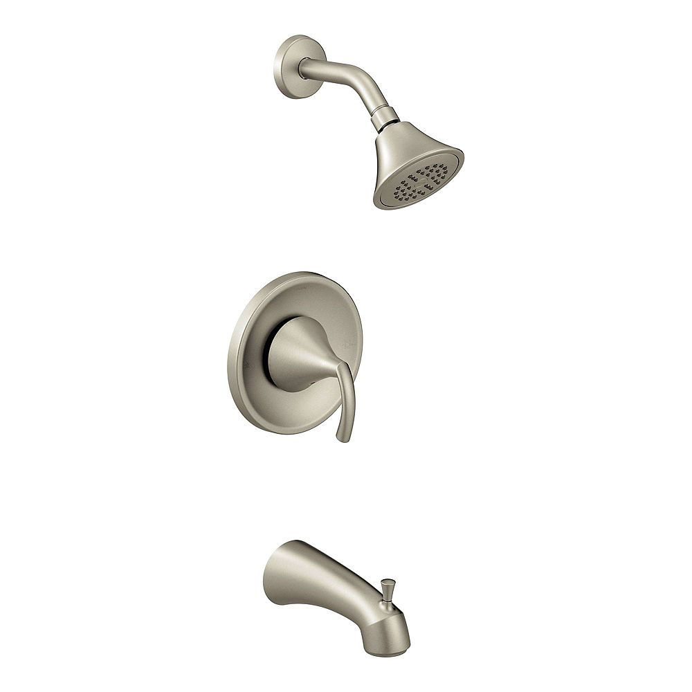 MOEN Glyde Single-Handle Eco-Performance Posi-Temp Tub and Shower Faucet Trim Kit in Brushed Nickel (Valve Not Included)