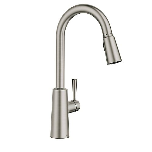 MOEN Riley Single-Handle Pull-down Sprayer Kitchen Faucet with AB1953/S152/HB372 in Spot Resist Stainless