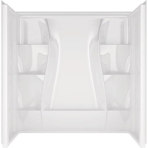 Mur de baignoire classique en acrylique acrylique 400 en alcôve, 3 pièces, contour blanc