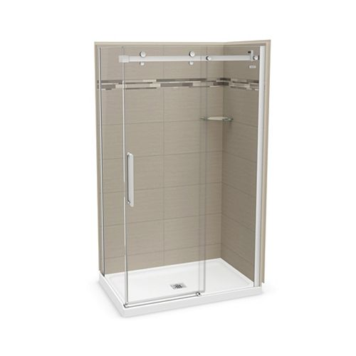 Utile 48 inch x 32 inch Origin Greige Corner Shower Kit with Chrome Door