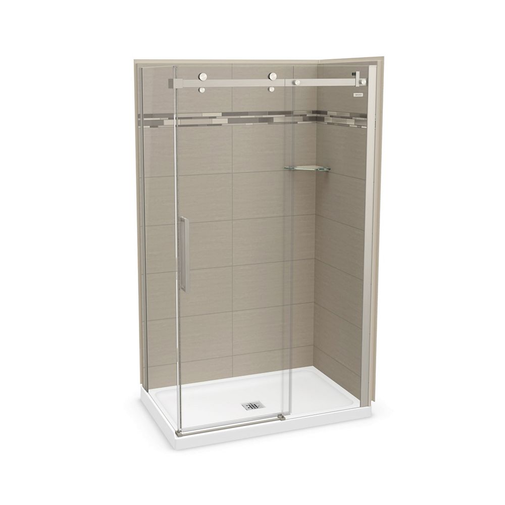 MAAX Utile 48 inch x 32 inch Origin Greige Corner Shower Kit with Brushed Nickel Door