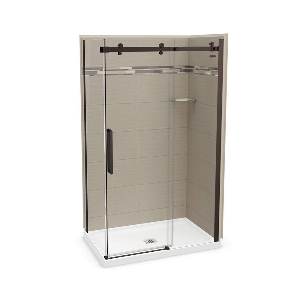 MAAX Utile 48 inch x 32 inchOrigin Greige Corner Shower Kit with Dark Bronze Door