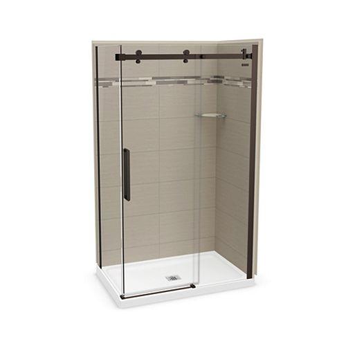 Utile 48 inch x 32 inchOrigin Greige Corner Shower Kit with Dark Bronze Door