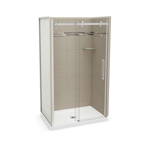 MAAX Utile 48 inch x 32 inch Origin Greige Alcove Shower Kit with Chrome Door