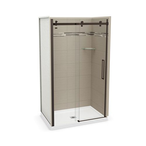 Utile 48 inch x 32 inch Origin Greige Alcove Shower Kit with Dark Bronze Door