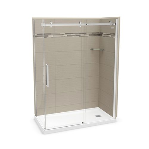 Utile 60 inch x 32 inch Origin Greige Right Hand Corner Shower Kit with Chrome Door