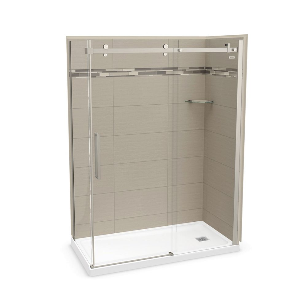 MAAX Utile 60 inch x 32 inch Origin Greige Right Hand Corner Shower Kit with Brushed Nickel Door