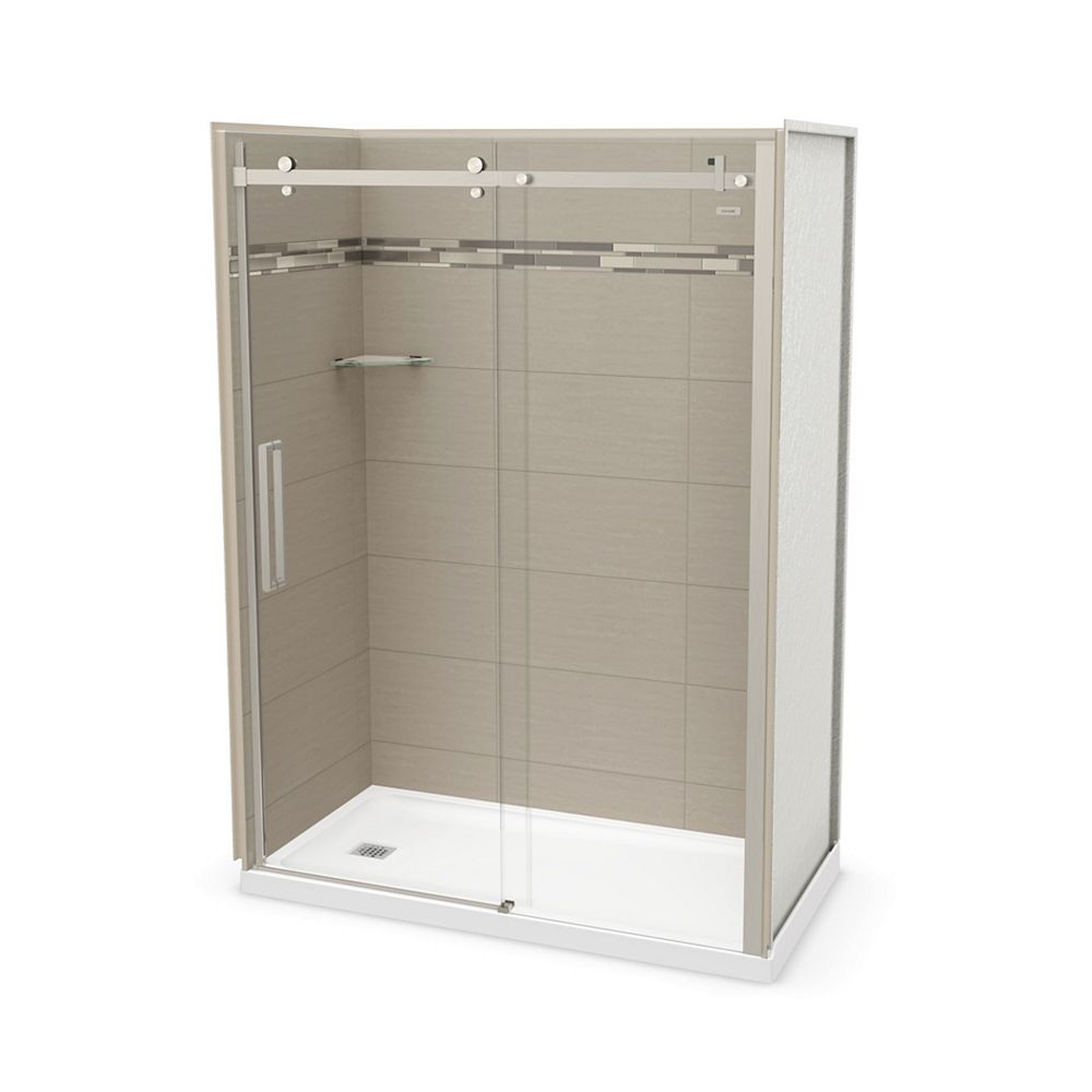 MAAX Utile 60 inch x 32 inch Origin Greige Left Hand Alcove Shower Kit with Brushed Nickel Door