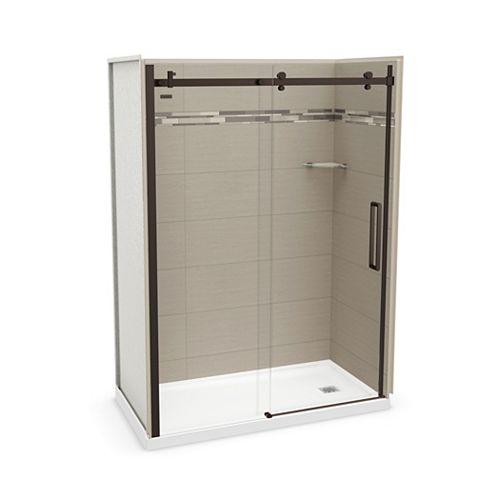 Utile 60 inch x 32 inch Origin Greige Right Hand Alcove Shower Kit with Dark Bronze Door