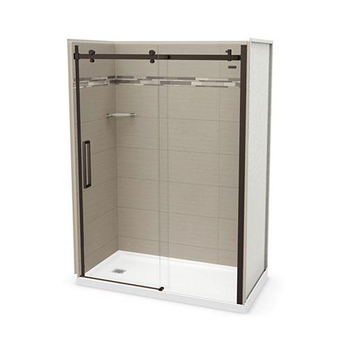 Utile 60 inch x 32 inch Origin Greige Left Hand Alcove Shower Kit with Dark Bronze Door