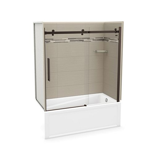 Utile 60 inch x 30 inch Origin Greige Tub Wall Kit with Right End Tub and Dark Bronze Door