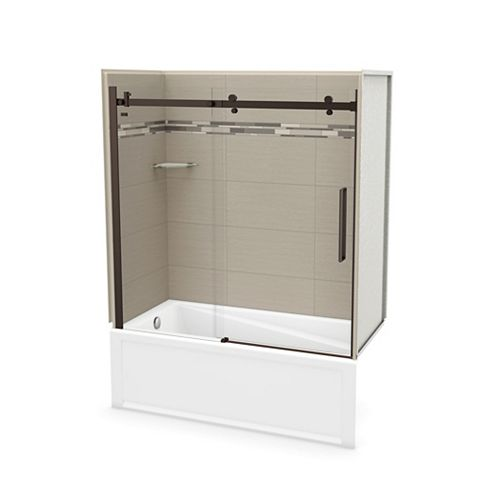 Utile 60 inch x 30 inch Origin Greige Tub Wall Kit with Left End Tub and Dark Bronze Door