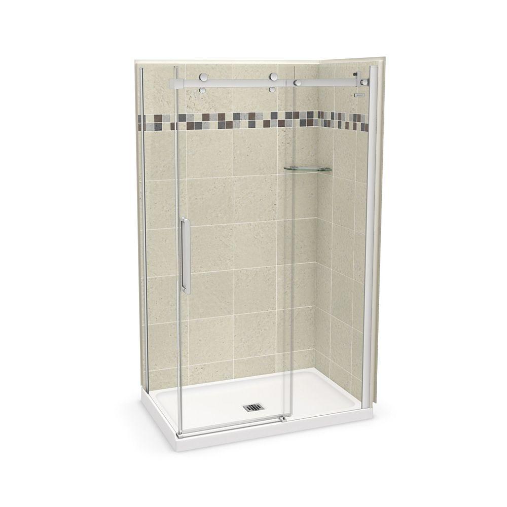 MAAX Utile 48 inch x 32 inch Stone Sahara Corner Shower Kit with Chrome Door