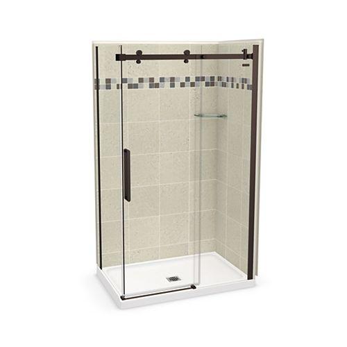 Utile 48 inch x 32 inch Stone Sahara Corner Shower Kit with Dark Bronze Door