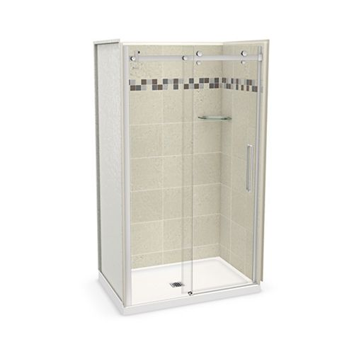Utile 48 inch x 32 inch Stone Sahara Alcove Shower Kit with Chrome Door