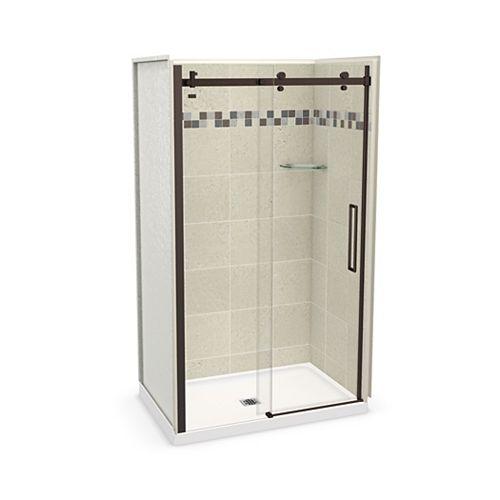 MAAX Utile 48 inch x 32 inch Stone Sahara Alcove Shower Kit with Dark Bronze Door