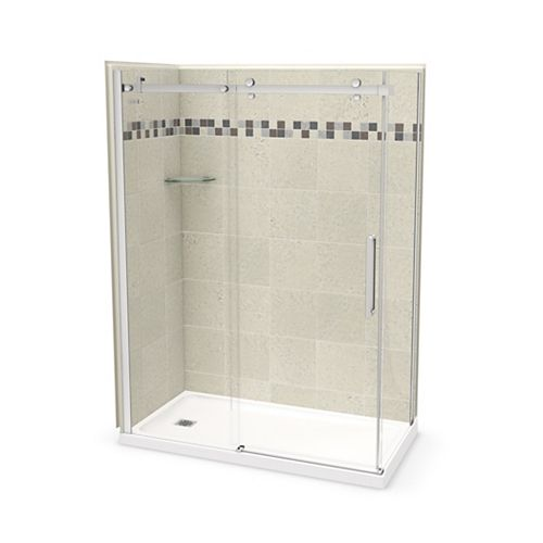 Utile 60 inch x 32 inch Stone Sahara Left Hand Corner Shower Kit with Chrome Door