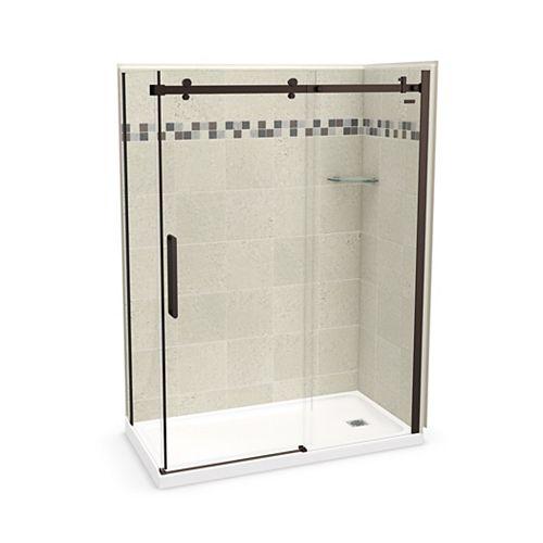 Utile 60 inch x 32 inch Stone Sahara Right Hand Corner Shower Kit with Dark Bronze Door