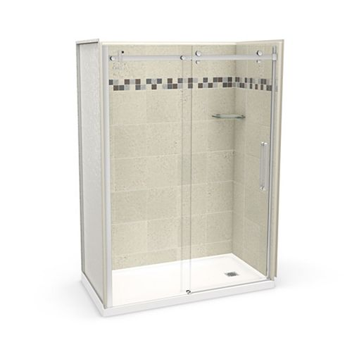 Utile 60 inch x 32 inch Stone Sahara Right Hand Alcove Shower Kit with Chrome Door