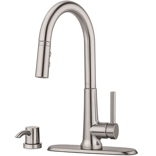 Pfister Crete Pull Down Kitchen Faucet in Spot Defense Stainless Steel