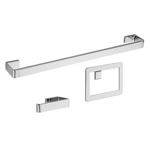 3-Piece Modern Bath Accessories Kit in Polished Chrome