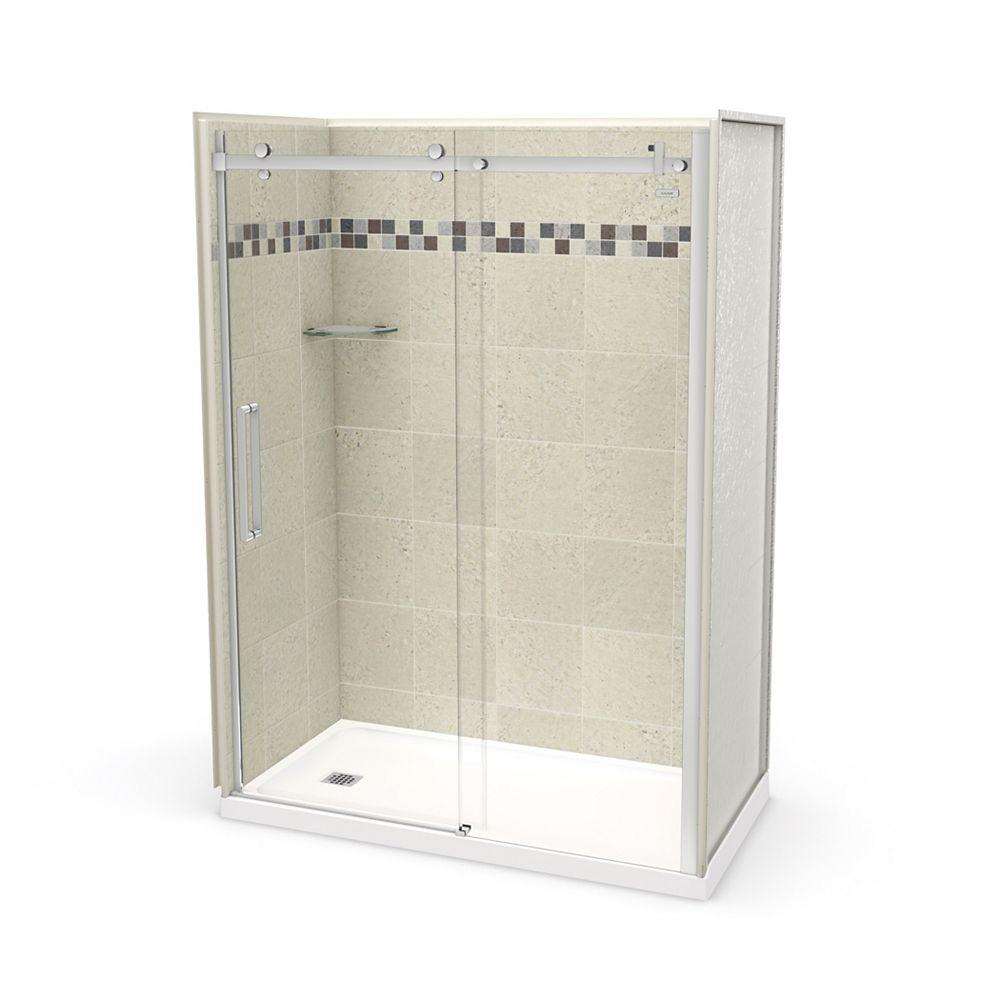 MAAX Utile 60 inch x 32 inch Stone Sahara Left Hand Alcove Shower Kit with Chrome Door