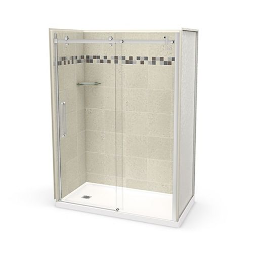 Utile 60 inch x 32 inch Stone Sahara Left Hand Alcove Shower Kit with Chrome Door