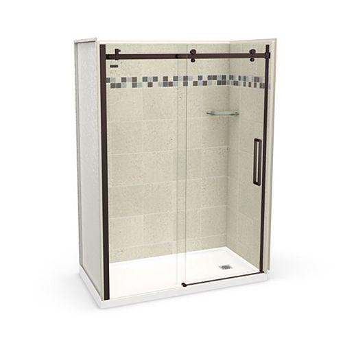 Utile 60 inch x 32 inch Stone Sahara Right Hand Alcove Shower Kit with Dark Bronze Door