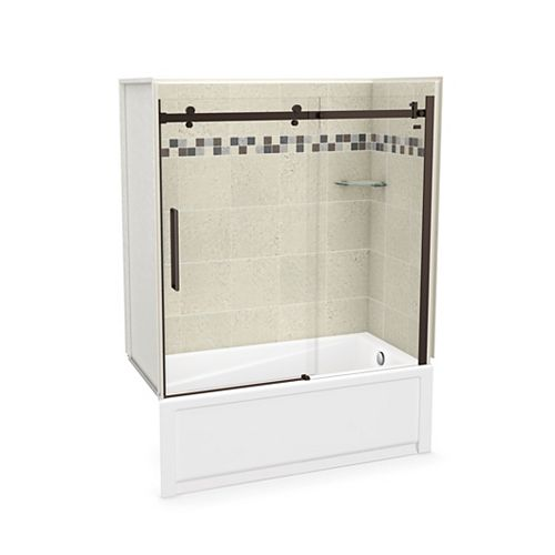 Utile 60 inch x 30 inch Stone Sahara Tub Wall Kit with Right End Tub and Dark Bronze Door