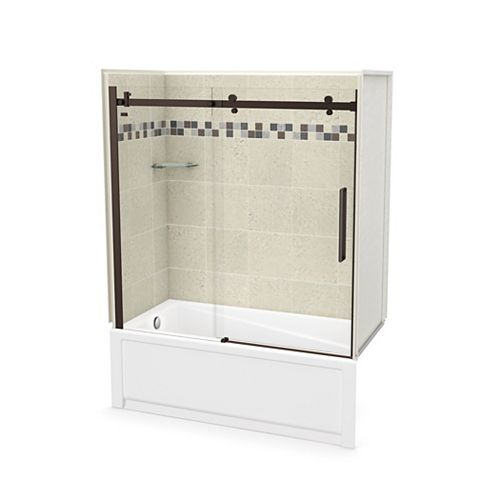 Utile 60 inch x 30 inch Stone Sahara Tub Wall Kit with Left End Tub and Dark Bronze Door