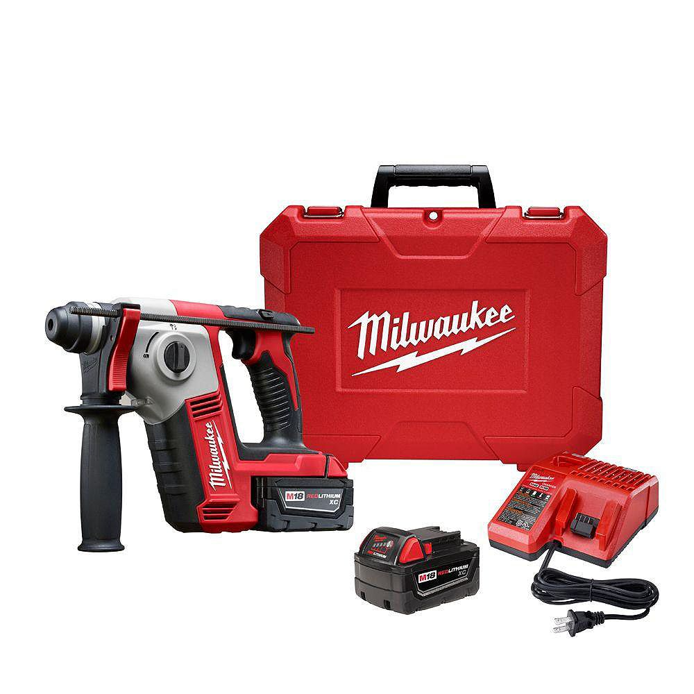 Milwaukee Tool M18 18-Volt Lithium-Ion Cordless 5/8-Inch SDS-Plus Rotary Hammer Kit with (2) 3.0Ah Batteries