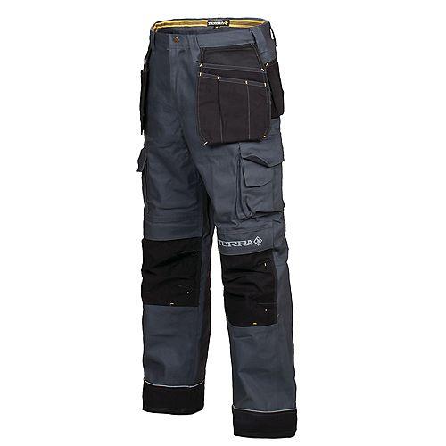 Pantalon de Travail en Canvas avec Poche à Outils BRICK (Gris) 42/32